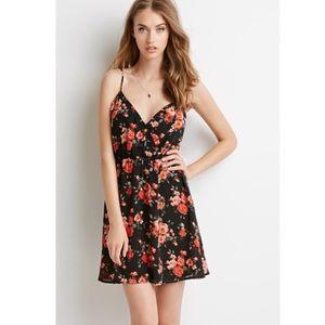 Floral faux wrap rose print slip dress